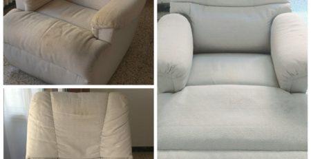 Antes y después limpieza sofá no desenfundable